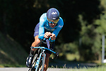 Nelson Oliveira (POR) Movistar Team in action during Stage 10 of La Vuelta 2019 an individual time trial running 36.2km from Jurancon to Pau, France. 3rd September 2019.<br /> Picture: Colin Flockton | Cyclefile<br /> <br /> All photos usage must carry mandatory copyright credit (© Cyclefile | Colin Flockton)