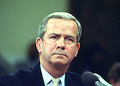 Robert C. McFarlane, former National Security Advisor to United States President Ronald Reagan, testifies before the joint US Senate and US House committee investigating the Iran-Contra Affair on Capitol Hill in Washington, DC on May 11, 1987.<br /> Credit: Arnie Sachs / CNP