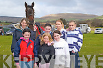 PONY: Getting their pony ready for the Equestrian Cross Country on Joe Arthurs land to raise funds for O Brenna?ns National School, on Sunday they were: Aoife McSweeney and Roisin Clifford(Faha),Sasha Edwards (Castlemaine),Zoe O'Dwyer- Kelly (Headford),Nessa Fitzmaurice (Moyvane),Helena O'Connor (Castleisland) and Cathy O'Connor(Athea). .FAMILY: The Mulvihill family from listowel at the Equestrian Cross Country competition on Joe Arthurs Land, Kielduff to raise funds for O Brenna?n's National School on Sunday.Edel,Jacinta,Mary and Anthony. .Champion Dog of the Frightful Flash Kennells/K.G.O.B.A Sweep Final with his owney who were presented with the Sweep Final Trophy by Dick O'Sullivan on Saturday night. l-r: Denis and Marie Sheehan,Declan Dowling,Maurice Hartnett, Dick O'Sullivan, Marie and Brendan Hartnett. .What a win by Kielduff Lady No 6 in the Frightful Flash Kennells/K.G.O.B.A Sweep Final at the Kingdom Greyhound Stadium, Tralee on Saturday night. .RACES: Having a great night at the Kingdom Greyhound Stadium, Tralee on Saturday night. Front l-r: Sarah Cooper,Clo?dagh Foley and Shauna O'Sullivan, back l-r: Tracey Hurley,Carol Hurley and Jonna Foley.Celine, daughter of Rita and Paddy O'Riordan, Coolnahane, kanturk and Tim, son of Sheila and Con Lehane, Aubone, Milstreet, who were married on Saturday at St patrick's Church, Milstreet by Fr Gerard O'Leary. Best man was John Lehane brother of the groom, and groomsmen were Gerard O'Riordan and Patrick O'callaghan. Bridesmaids were Emma O'Riordan sister of the bride, Marie O'Callaghan and Tracey Lehane. Flowergirls were Chelesa -Robyn Sheehan and Megan and Liah Linnane. Pageboys were Dylan Sheehan and Jack Kelleher. The reception was held at Ballygarry House Hotel & Spa, Tralee. The couple will reside Milstreet. .Carmel, daughter of margaret and Paddy Bynane, Derrymore East, Tralee, and Fergus, son of mary and the late Mick Hogan, Crinkle, Birr. who were married on saturday at St Brendan's Church, Curraheen, Tralee,