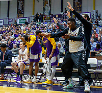 University at Albany men's basketball defeats Binghamton University 71-54  at the  SEFCU Arena, Feb. 27, 2018. Injured Travis Charles (#30) celebrates a 3-point basket. (Bruce Dudek / Cal Sport Media/Eclipse Sportswire)