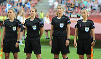 20170719 - UTRECHT , NETHERLANDS : Referee Esther Staubli (M) and assistant referees Belinda Brem (L) and Sanja Rodjak  Karsic (R) pictured during the female soccer game between England and Scotland  , the frist game in group D at the Women's Euro 2017 , European Championship in The Netherlands 2017 , Wednesday 19 th June 2017 at Stadion De Galgenwaard  in Utrecht , The Netherlands PHOTO SPORTPIX.BE | DIRK VUYLSTEKE