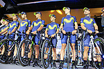 Movistar Team on stage at the Team Presentation in Burgplatz Dusseldorf before the 104th edition of the Tour de France 2017, Dusseldorf, Germany. 29th June 2017.<br /> Picture: Eoin Clarke | Cyclefile<br /> <br /> <br /> All photos usage must carry mandatory copyright credit (&copy; Cyclefile | Eoin Clarke)