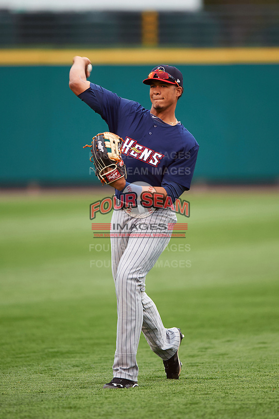 Toledo Mudhens outfielder Steven Moya (24) warms up before a game against the Rochester Red Wings on May 12, 2015 at Frontier Field in Rochester, New York.  Toledo defeated Rochester 8-0.  (Mike Janes/Four Seam Images)