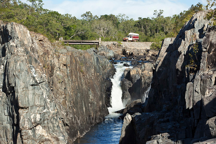 Four wheel driving crossing the Little Annan River near, Cooktown, Queensland, Australia
