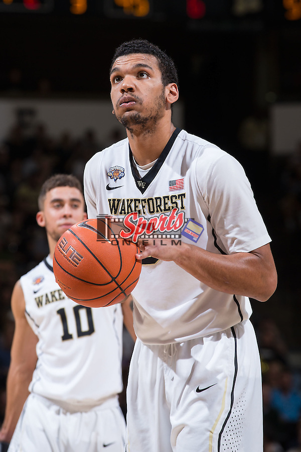 Devin Thomas (2) of the Wake Forest Demon Deacons prepares to attempt a free throw during second half action against the Xavier Musketeers at the LJVM Coliseum on December 22, 2015 in Winston-Salem, North Carolina.  The Musketeers defeated the Demon Deacons 78-70.  (Brian Westerholt/Sports On Film)