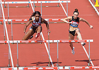 Cindy Ofili (Great Britain) competing in the women's 100m hurdles with Heather Paton (Great Britain) during the IAAF Diamond League Athletics Müller Grand Prix Birmingham at Alexander Stadium, Walsall Road, Birmingham on 18 August 2019. Photo by Alan  Stanford.