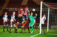 Lincoln City U18's Duncan Idehen scores the opening goal<br /> <br /> Photographer Chris Vaughan/CameraSport<br /> <br /> The FA Youth Cup Second Round - Lincoln City U18 v South Shields U18 - Tuesday 13th November 2018 - Sincil Bank - Lincoln<br />  <br /> World Copyright © 2018 CameraSport. All rights reserved. 43 Linden Ave. Countesthorpe. Leicester. England. LE8 5PG - Tel: +44 (0) 116 277 4147 - admin@camerasport.com - www.camerasport.com