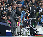 Josep Guardiola manager of Manchester City greets Raheem Sterling of Manchester City as he is substituted during the Champions League Group C match at the Etihad Stadium, Manchester. Picture date: November 1st, 2016. Pic Simon Bellis/Sportimage