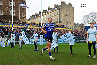 Jonathan Joseph of Bath Rugby runs onto the field to commemorate his 100th appearance for the club the previous weekend. Gallagher Premiership match, between Bath Rugby and Harlequins on March 2, 2019 at the Recreation Ground in Bath, England. Photo by: Patrick Khachfe / Onside Images