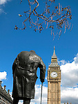 Big Ben and Winston Churchill Juxtaposed, London, UK