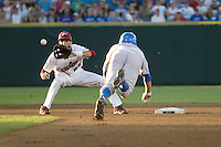 South Carolina SS Bobby Haney in Game Two of the NCAA Division One Men's College World Series Finals on June 29th, 2010 at Johnny Rosenblatt Stadium in Omaha, Nebraska.  (Photo by Andrew Woolley / Four Seam Images)