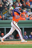 Left fielder Maleeke Gibson (1) of the Clemson Tigers in a game against the South Carolina Gamecocks on Saturday, March 2, 2013, at Fluor Field at the West End in Greenville, South Carolina. Clemson won the Reedy River Rivalry game 6-3. (Tom Priddy/Four Seam Images)