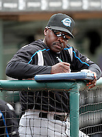 Syracuse Chiefs Coach Jerry Browne in the dugout during a game vs. the Buffalo Bisons at Coca-Cola Field in Buffalo, New York;  June 3, 2010.  Syracuse defeated Buffalo 7-1.  Photo By Mike Janes/Four Seam Images