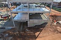 North Elevation, west end. Central Connecticut State University. New Academic Building. Project No: BI-RC-324. Architect: Burt Hill Kosar Rittelmann Associates. Contractor: Gilbane, Inc.