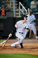 Jackson Generals center fielder Evan Marzilli (45) follows through on a swing during a game against the Chattanooga Lookouts on April 27, 2017 at The Ballpark at Jackson in Jackson, Tennessee.  Chattanooga defeated Jackson 5-4.  (Mike Janes/Four Seam Images)