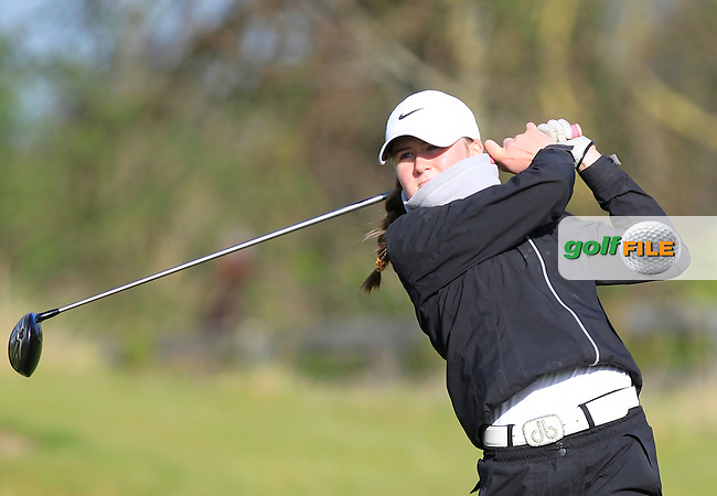 Rachel Thompson (Cork) on the 1st tee during Round 3 of the Irish Girl's Open Stroke Play Championship at Roganstown Golf &amp; Country Club on Sunday 17th April 2016.<br /> Picture:  Thos Caffrey / www.golffile.ie