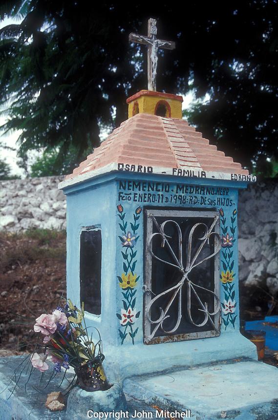 Family grave or osario at the Cementerio Hoctun, a Mayan cemetery near Merida, Yucatan state, Mexico
