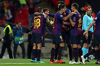 Lionel Messi of FC Barcelona is congratulated after scoring the third goal during Tottenham Hotspur vs FC Barcelona, UEFA Champions League Football at Wembley Stadium on 3rd October 2018