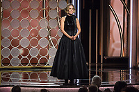 Sarah Paulson on stage at the 75th Annual Golden Globe Awards at the Beverly Hilton in Beverly Hills, CA on Sunday, January 7, 2018.<br /> *Editorial Use Only*<br /> CAP/PLF/HFPA<br /> &copy;HFPA/PLF/Capital Pictures