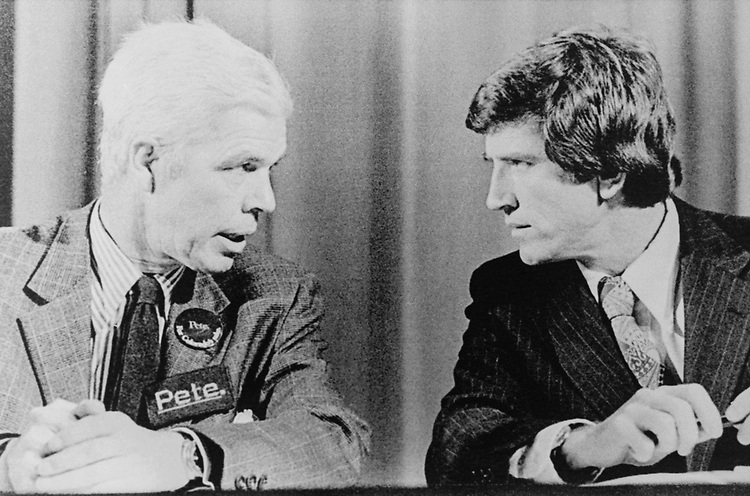 Sen. Gary Hart, D-Colo., talking with party member. (Photo by Laura Patterson/CQ Roll Call via Getty Images)