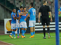 Dries Mertens celebrates during the Europa League   soccer match between SSC Napoli and Sparta Praha  at  the San Paolo   stadium in Naples  Italy , september 18 , 2014