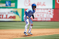 Brhet Bewley (15) of the Burlington Royals takes his lead off of second base against the Greeneville Reds at Burlington Athletic Stadium on July 8, 2018 in Burlington, North Carolina. The Royals defeated the Reds 4-2.  (Brian Westerholt/Four Seam Images)