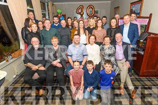 Sharon Clifford from Keel (sitting, third right) enjoying her surprise 40th birthday party with her family and friends at the Skellig Hotel in Dingle on Friday night.