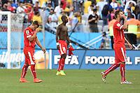 FUSSBALL WM 2014                ACHTELFINALE Argentinien - Schweiz                  01.07.2014 Xherdan Shaqiri, Johan Djourou und Haris Seferovic (v.l., alle Schweiz) verlassen nach dem Abpfiff den Platz