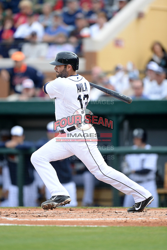 Detroit Tigers catcher Alex Avila (13) during a spring training game against the Atlanta Braves on February 27, 2014 at Joker Marchant Stadium in Lakeland, Florida.  Detroit defeated Atlanta 5-2.  (Mike Janes/Four Seam Images)