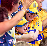 Clare fans celebrate Peter Duggan's goal during their All-Ireland semi-final replay against Galway at Semple Stadium, Thurles. Photograph by John Kelly.