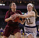 SIOUX FALLS, SD: MARCH 7: Michelle Farrow #22 of Western Illinois tries to steal from Kelsi Byrd #3 of IUPUI during the Women's Summit League Basketball Championship Game on March 7, 2017 at the Denny Sanford Premier Center in Sioux Falls, SD. (Photo by Dick Carlson/Inertia)