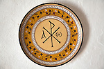 Wall mounted plate with Greek orthodox Christian symbols