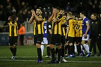 Jake Cassidy of Maidstone applauds the home fans at the end of the match as Will De Havilland puts his head in his hands during Maidstone United vs Oldham Athletic, Emirates FA Cup Football at the Gallagher Stadium on 1st December 2018