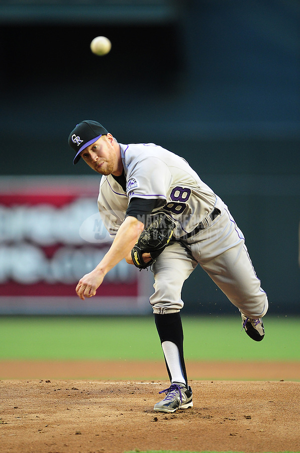 Jun. 6, 2012; Phoenix, AZ, USA; Colorado Rockies pitcher Josh Outman throws in the first inning against the Arizona Diamondbacks at Chase Field.  Mandatory Credit: Mark J. Rebilas-