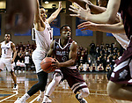 SIOUX FALLS, SD: MARCH 23: Al Davis #3 from Bellarmine looks for help while being pressured by D'Ondre Stockman #14 from Fairmont State during the Men's Division II Basketball Championship Tournament on March 23, 2017 at the Sanford Pentagon in Sioux Falls, SD. (Photo by Dave Eggen/Inertia)
