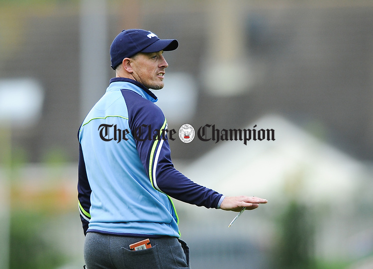 Truagh-Clonlara joint manager Ger O Connell on the sideline against Inagh-Kilnamona during their first round senior championship game in Shannon. Photograph by John Kelly
