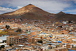 Bolivia, Potosi with famous silver mountain (Cerro de Potosi) in background; Potosi is one of the highest cities by elevation in the world at a nominal 4,090 m (13,420 feet)