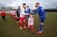 The teams shake hands during Stevenage vs Crewe Alexandra, Sky Bet EFL League 2 Football at the Lamex Stadium on 10th March 2018