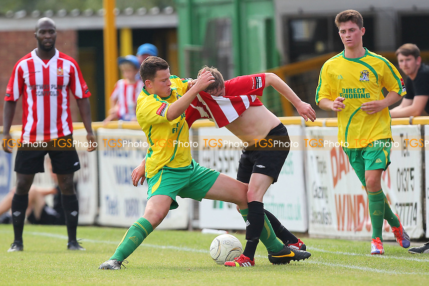 Lewis Clark of Thurrock grapples with Joey May of Hornchurch - Thurrock vs AFC Hornchurch - Pre-Season Friendly Football Match at Ship Lane, Thurrock FC, Purfleet, Essex - 26/07/14 - MANDATORY CREDIT: Gavin Ellis/TGSPHOTO - Self billing applies where appropriate - contact@tgsphoto.co.uk - NO UNPAID USE