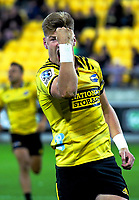 Jordie Barrett celebrates his first try during the Super Rugby match between the Hurricanes and Chiefs at Westpac Stadium in Wellington, New Zealand on Friday, 27 April 2019. Photo: Dave Lintott / lintottphoto.co.nz