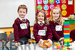 Tadhg Lawlor, Katelyn O'Brien and Érin Curley Guinnane, pictured at their first day of school at Holy Family National School, Tralee on Monday morning last.
