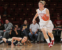 STANFORD, CA - November 30, 2011:  Toni Kokenis brings the ball up after a steal in Stanford's 93-44 victory over UC Davis in Stanford, California on November 30, 2011.