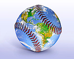 Baseball Globe Illustration, An Image Of The Earth From Space Seemingly Painted Onto A Baseball, Digital Art - Photo Illustration, This File Has A Clipping Path For Extracting The Ball From It's Background