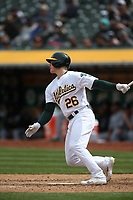 OAKLAND, CA - APRIL 18:  Matt Chapman #25 of the Oakland Athletics bats against the Chicago White Sox during the game at the Oakland Coliseum on Wednesday, April 18, 2018 in Oakland, California. (Photo by Brad Mangin)