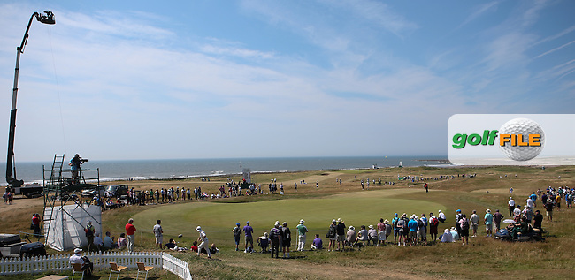 View of the 17th from the grandstand during Round One of the 2014 Senior Open Championship presented by Rolex from Royal Porthcawl Golf Club, Porthcawl, Wales. Picture:  David Lloyd / www.golffile.ie