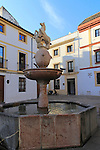 Historic buildings and fountain in Plaza del Potro square in old city part of Cordoba, Spain