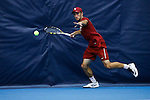24 MAY 2016: Oklahoma's Alex Ghilea contacts the curtain during a singles play. The Division I Men's Tennis Championship is held at the Michael D. Case Tennis Center on the University of Tulsa campus in Tulsa, OK.  Virginia defeated Oklahoma for the national championship. Shane Bevel/NCAA Photos