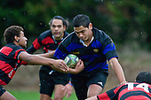 Aamer Daji tries to break through between P. Elama & J. Wain. Counties Manukau Division 2 Rugby game between Onewhero & Papakura played up on the hill at Onewhero on Saturday June 28th 2008..Papakura won 25 - 13 after Onewhero led 10 - 8 at halftime.