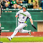 25 July 2017: Vermont Lake Monsters third baseman Will Toffey, a 4th round draft pick for the Oakland Athletics, comes home safely to score Vermont's 5th run in the first inning against the Tri-City ValleyCats at Centennial Field in Burlington, Vermont. The Lake Monsters defeated the ValleyCats 11-3 in NY Penn League action. Mandatory Credit: Ed Wolfstein Photo *** RAW (NEF) Image File Available ***