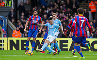 Gabriel Jesus of Manchester City hits a shot at goal during the Premier League match between Crystal Palace and Manchester City at Selhurst Park, London, England on 31 December 2017. Photo by Andy Rowland.